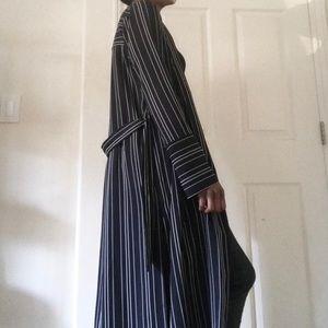 Zara Long Striped Kimono Robe with Tie